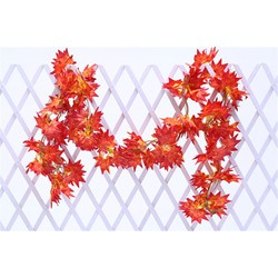 Dây lá phong đỏ trang trí tường rào-cây lá giả trang trí nội thất