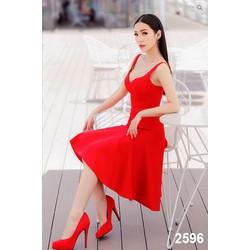 Đầm Xòe Đỏ Hai Dây Cúp Ngực Sang Trọng Quyến Rũ