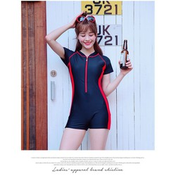 Hình thật_Đồ bơi nữ liền thân tay ngắn quần đùi_LM78