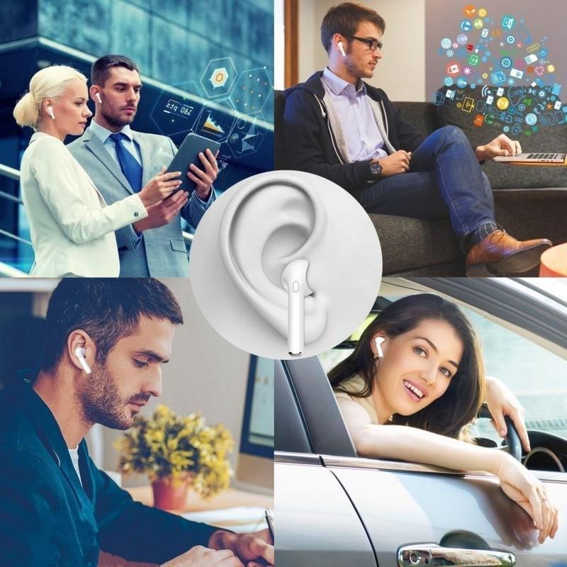Tai nghe Bluetooth 2 tai cho điện thoại, máy tính bảng Trắng PKCB I8 14