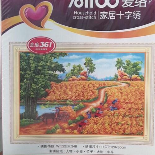 tranh thêu phong cảnh làng quê tuyệt đẹp 120x80cm