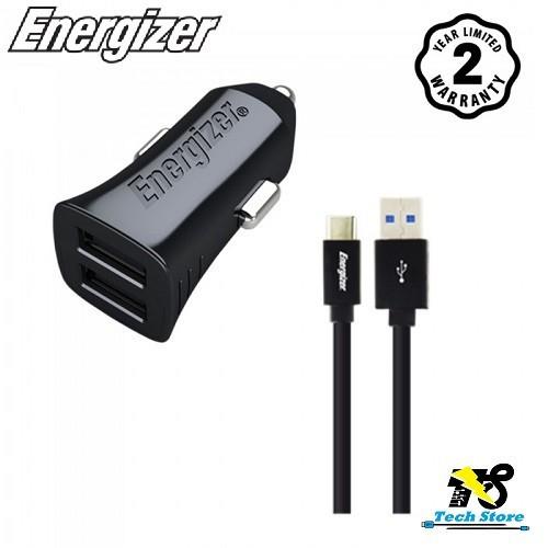 Sạc Ô Tô Energizer DCA2BHC23 - 2 cổng, 12W, Kèm cáp USB-C