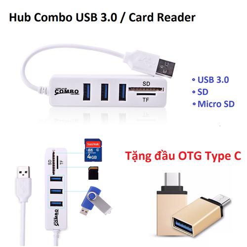 Hub usb 3.0 3 port có tích hợp đầu đọc thẻ sd, tf - tặng otg type c