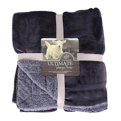Chăn lông cừu tuyết loại 1 Ultimate Sherpa Throw 2 x 2,3 m Xanh đen