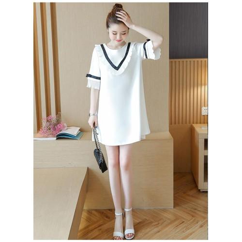 Váy bầu trắng cổ thủy thủ