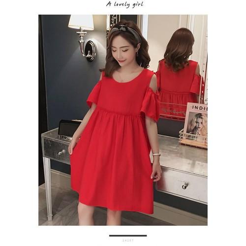 Váy bầu đỏ babydoll hở vai