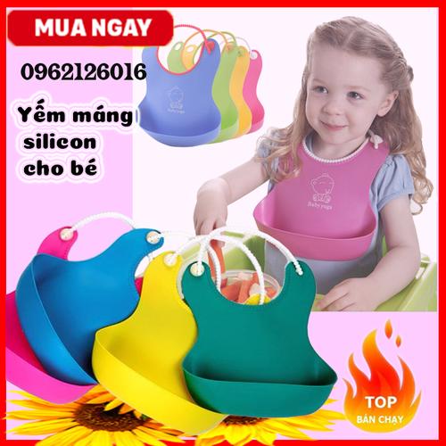 Yếm máng silicon ăn dắm cho bé