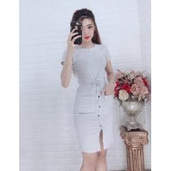 Đầm sọc phối túi - 24071845