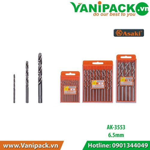 Bộ 10 cây- Mũi khoan sắt và inox 6.5mm Asaki AK-3553 - 10699509 , 10781263 , 15_10781263 , 300300 , Bo-10-cay-Mui-khoan-sat-va-inox-6.5mm-Asaki-AK-3553-15_10781263 , sendo.vn , Bộ 10 cây- Mũi khoan sắt và inox 6.5mm Asaki AK-3553