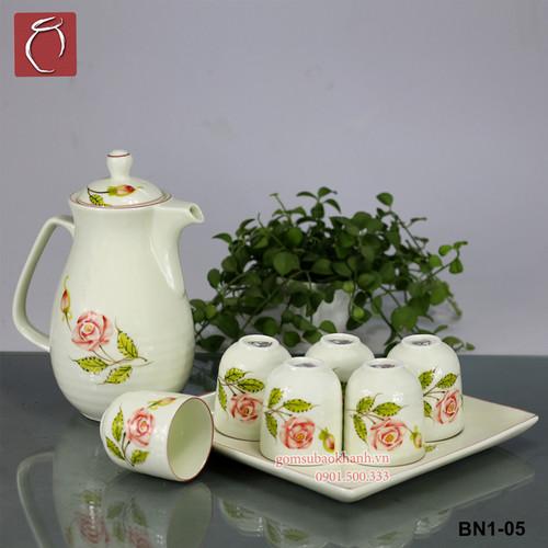 Bộ bình nước men kem hoa hồng Bảo Khánh Bát Tràng