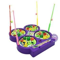 Hộp đồ chơi câu cá nam châm 4 hồ dùng pin có nhạc 9923