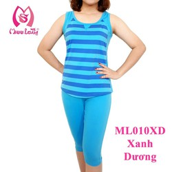 ML010 - Bộ mặc nhà nữ thun sọc 3 phân tay ngắn quần lửng MISS LATHY