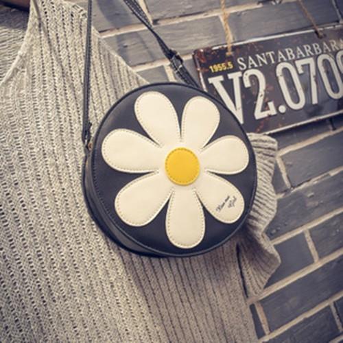 Túi xách bông hoa da PU- Túi xách tròn