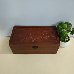 Hộp đựng trang sức gỗ hương trạm khắc bạch mã