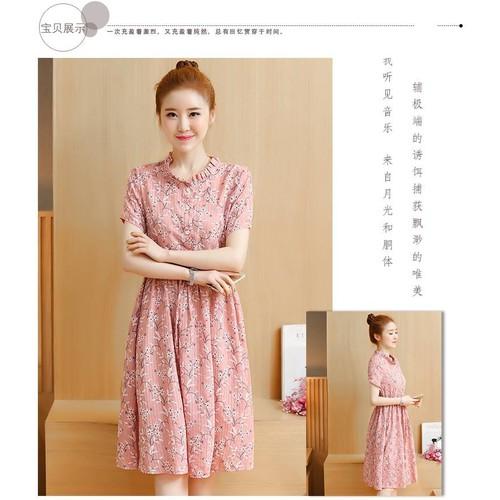 MM1182 Váy Bầu Hoa Đào Hồng Cổ Tàu Buộc Bụng