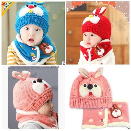 Bộ mũ len kèm khăn cho bé từ 0-24m