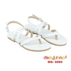 Giày sandal nữ  xỏ ngón quai chéo màu trắng big size DEP&SHOCK