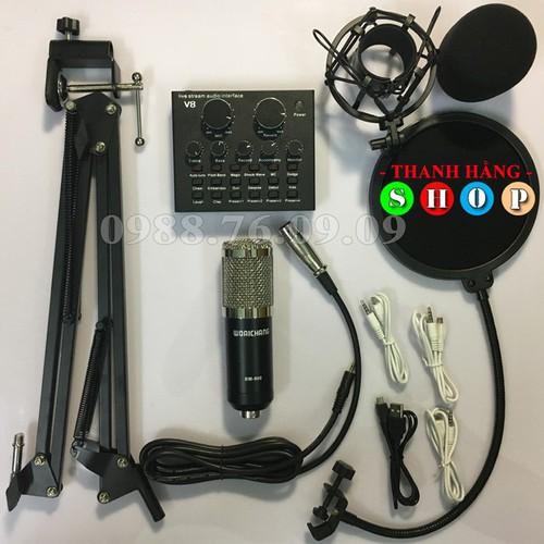 Combo Mic thu âm BM900 + Soundcard V8 - Card âm thanh Live stream