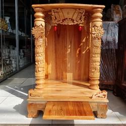 Bàn thờ thần tài ông địa gỗ xoan ngang 60 cm quỳ trụ