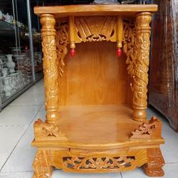 Bàn thờ thần tài ông địa gỗ gõ đỏ ngang 50 cm quỳ trụ