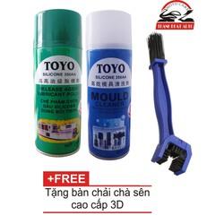 Bộ sản phẩm rửa sên Toyo, bôi trơn Toyo và bàn chải chà sên