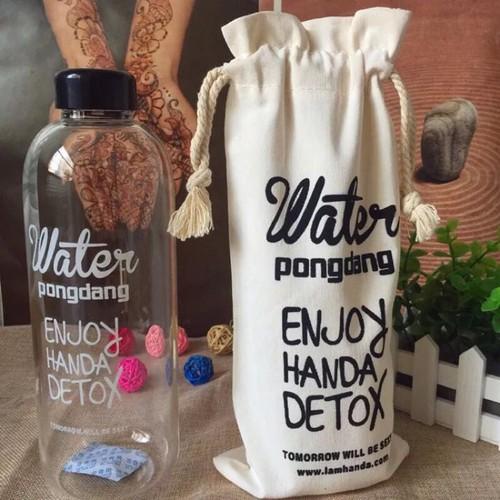 Bình đựng nước 1L nhựa trong suốt tặng kèm túi đựng