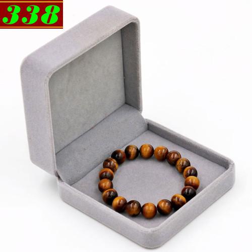 Vòng chuỗi tay đá mắt hổ vàng đen 10 ly 18 hạt kèm hộp nhung