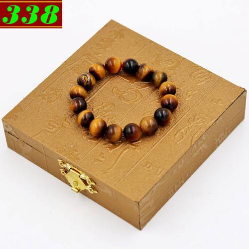 Vòng chuỗi đeo tay đá mắt hổ vàng đen 10 ly 16 hạt kèm hộp gỗ