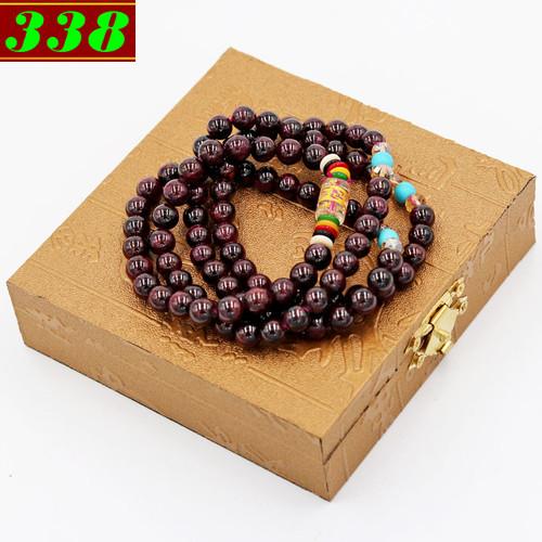 Vòng tay 108 hạt ngọc hồng lựu 6 ly BBD4 kèm hộp gỗ