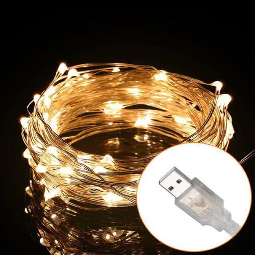 Đèn đom đóm led 5m Fairy light trang trí phòng màu vàng đầu cắm usb
