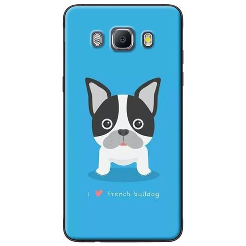 Ốp lưng nhựa dẻo Samsung J5 2016 Chó bull nền xanh