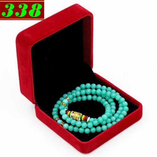 Bộ vòng chuỗi  tay 108 hạt ngọc tủy xanh ngọc kèm hộp nhung