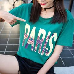 Áo thun COTTON nữ màu xanh lá đậm vải mịn co giản tốt in chữ Paris
