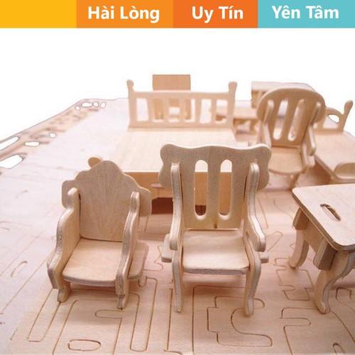 Bộ đồ chơi lắp ghép 3D 184 chi tiết bằng gỗ