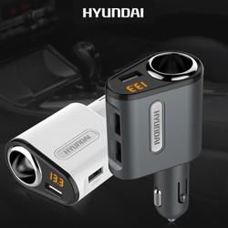 Tẩu sạc oto cao cấp - Tẩu sạc Hyundai chia 1tẩu 3usb - tẩu sạc đa năng