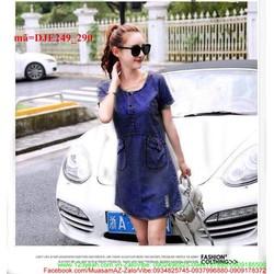 Đầm jean 2 túi to phối xước đáng iu sành điệu xuống phố DJE249