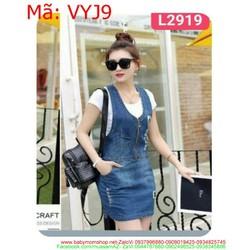 Váy yếm jean nữ phối dây kéo thời trang rách ô VYJ9