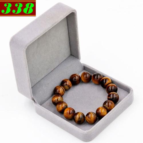 Vòng chuỗi đeo tay đá mắt hổ vàng đen 14 ly 15 hạt kèm hộp nhung