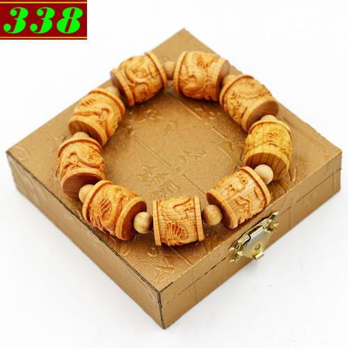 Vòng chuỗi đeo tay Trụ rồng gỗ Hoàng đàn kèm hộp  gỗ