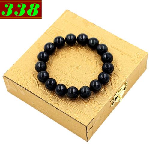 Vòng đeo tay đá thạch anh đen 12 ly 17 hạt kèm hộp gỗ
