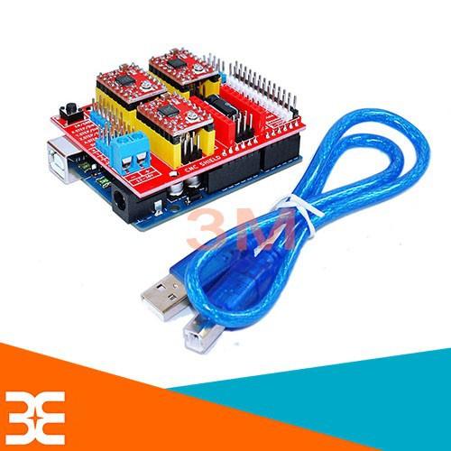 Combo Arduino Uno R3 Dán + Shield Uno R3 + 4 Module A4988 V1