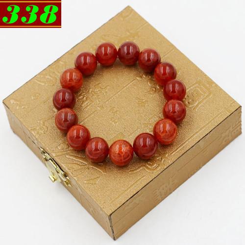 Vòng chuỗi đeo tay đá vân rồng đỏ 14 ly 15 hạt