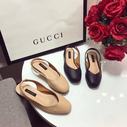 Giày bệt da quai choàng gót