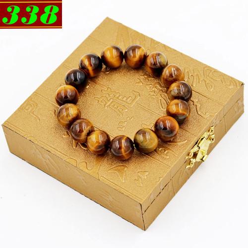 Vòng chuỗi đeo tay đá mắt hổ vàng đen 14 ly 15 hạt