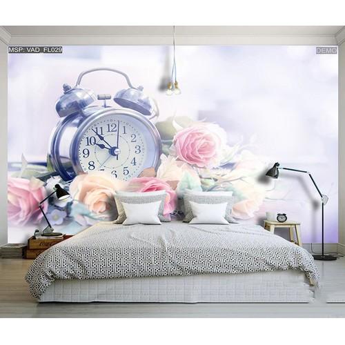 Tranh dán tường 3D đòng hồ và hoa hồng PC54