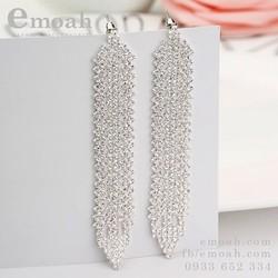 Bông tai, khuyên tai | Bông tai bạc 925 dáng dài đính đá ELBT16