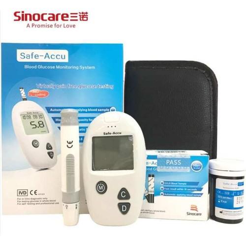 Máy đo đường huyết Safe-Accu SINOCARE - Tặng 50 que thử và 50 kim