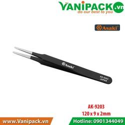 Nhíp gắp linh kiện chống tĩnh điện mũi bằng 120- 9- 2mm Asaki AK-9203