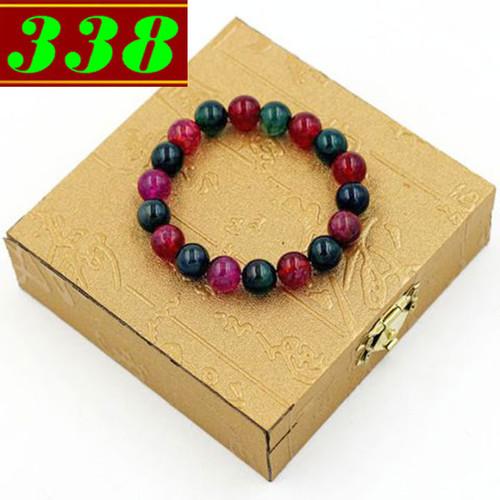Vòng chuỗi đeo tay đá vân rồng xanh đỏ 10 ly kèm hộp gỗ