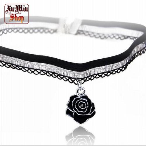 Vòng choker ren Hoa hồng đen XM26